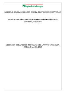 Cittadini stranieri e mercato del lavoro in Emilia-Romagna nel 2015