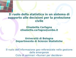 Il ruolo della statistica in un sistema di supporto alle dicisioni per la protezione civile