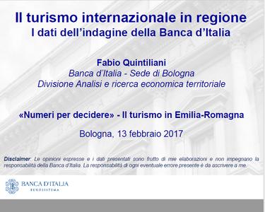 Il turismo internazionale in regione. I dati dell'indagine della Banca d'Italia