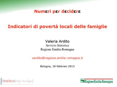 Indicatori di povertà locali delle famiglie