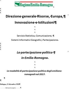 La partecipazione politica in Emilia-Romagna
