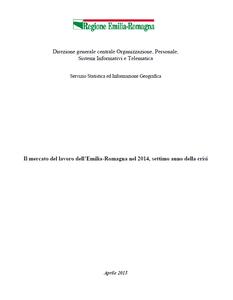Il mercato del lavoro dell'Emilia-Romagna nel 2014, settimo anno della crisi