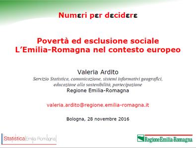 Povertà ed esclusione sociale. L'Emilia-Romagna nel contesto europeo.