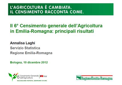 Il 6° Censimento generale dell'Agricoltura in Emilia-Romagna: principali risultati