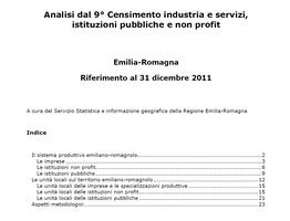 Analisi dal 9° Censimento industria e servizi, istituzioni pubbliche e non profit