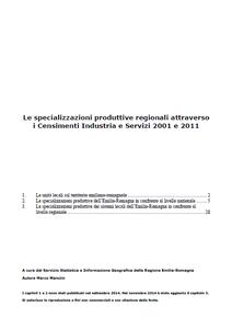 Le specializzazioni produttive regionali attraverso i Censimenti Industria e Servizi 2001 e 2011