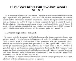 Le vacanze degli emiliano-romagnoli nel 2012